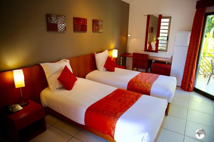 My spacious room at La Nea hotel in Koné.