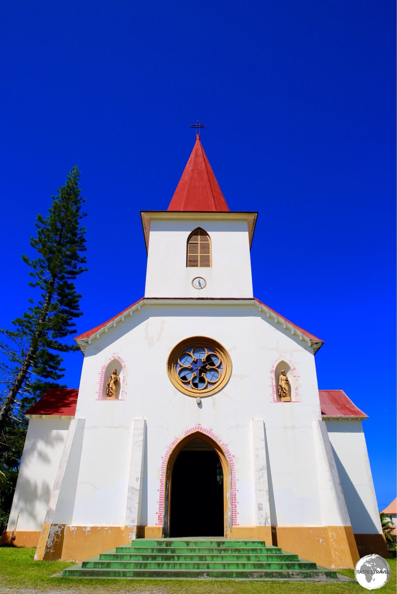 Beautiful St. Louis church is located on a hill. a short drive from Noumea.