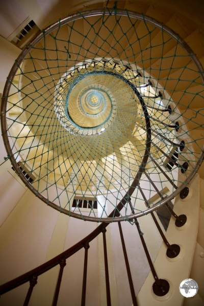 The spiral staircase which climbs 56 metres to the top of Amédée Lighthouse.
