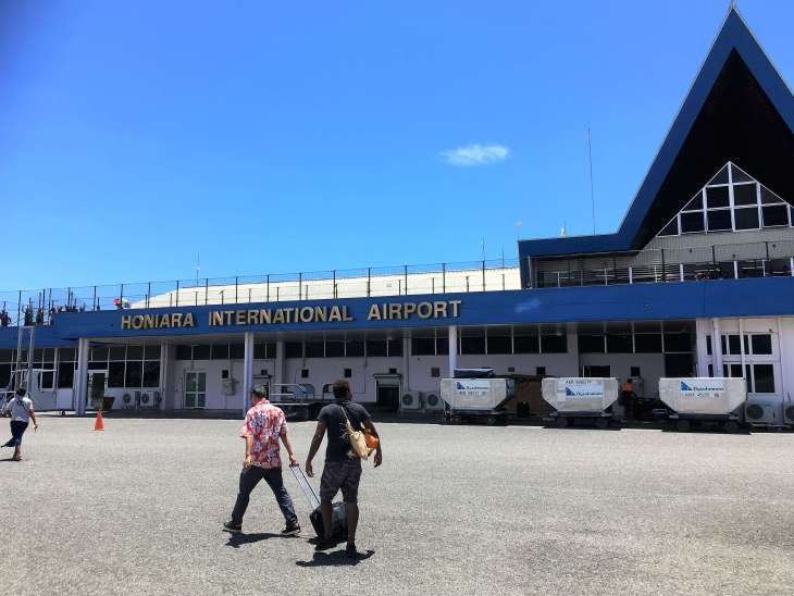 Arriving at Honiara International Airport.