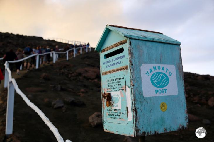A post box, which is cleared twice daily, on the slopes of Mount Yasur Volcano on Tanna.