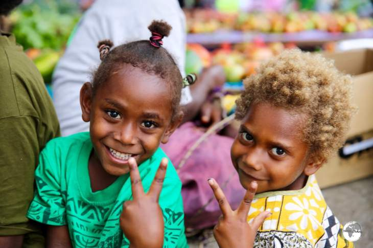 Children in Port Vila Central market.
