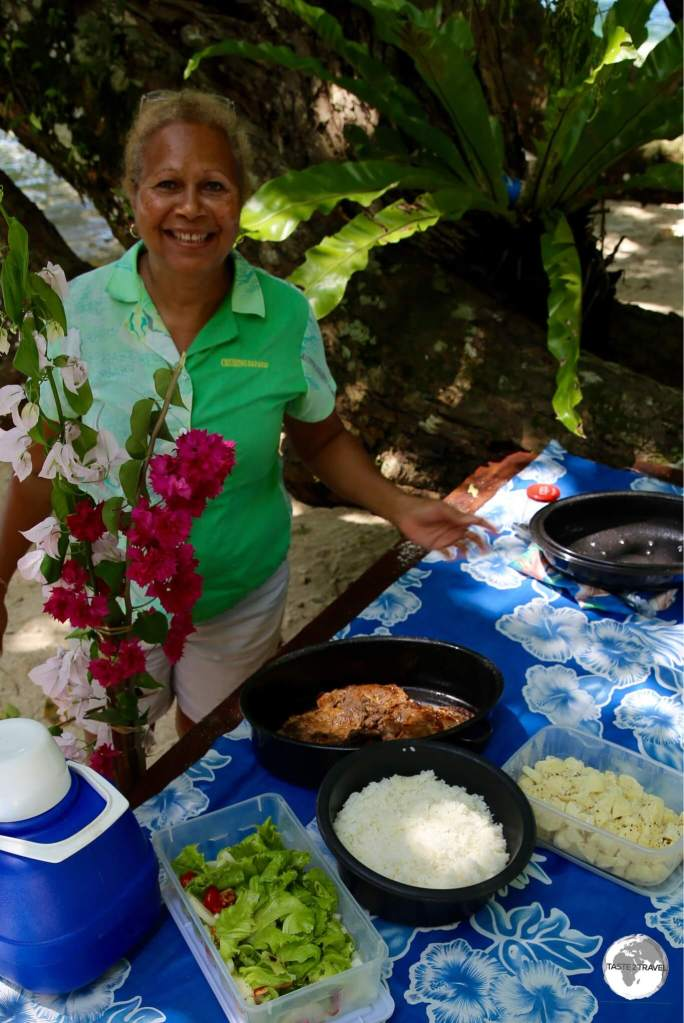 Our amazing guide, Esline Turner preparing a delicious lunch on Malo Island,