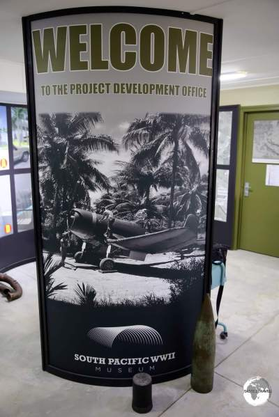 Displays at the development office of the South Pacific WWII Museum in Luganville.