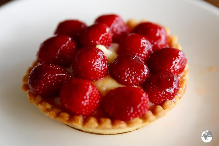 A fine Vanuatu raspberry tart made by the French pastry chief at Au Peche Mignon.