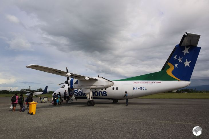 Boarding my Solomon Airways flight from Honiara to Munda.