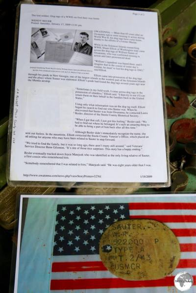 An article from an American newspaper tells of the return of missing Dog Tags from Barney's collection to the original owner.