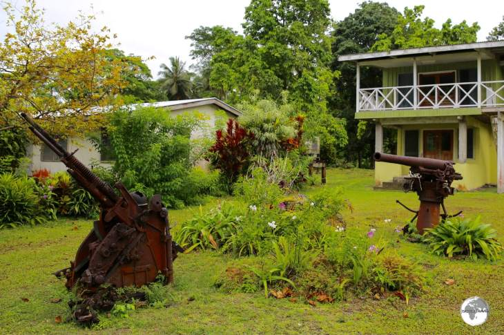 Japanese anti-aircraft guns make for the coolest garden furniture.