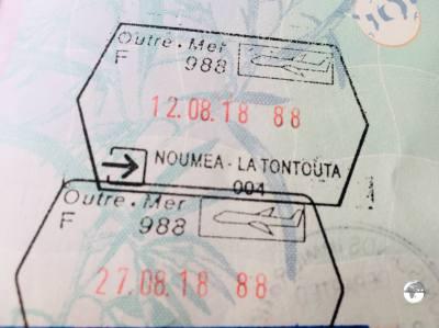 New Caledonia passport stamps.