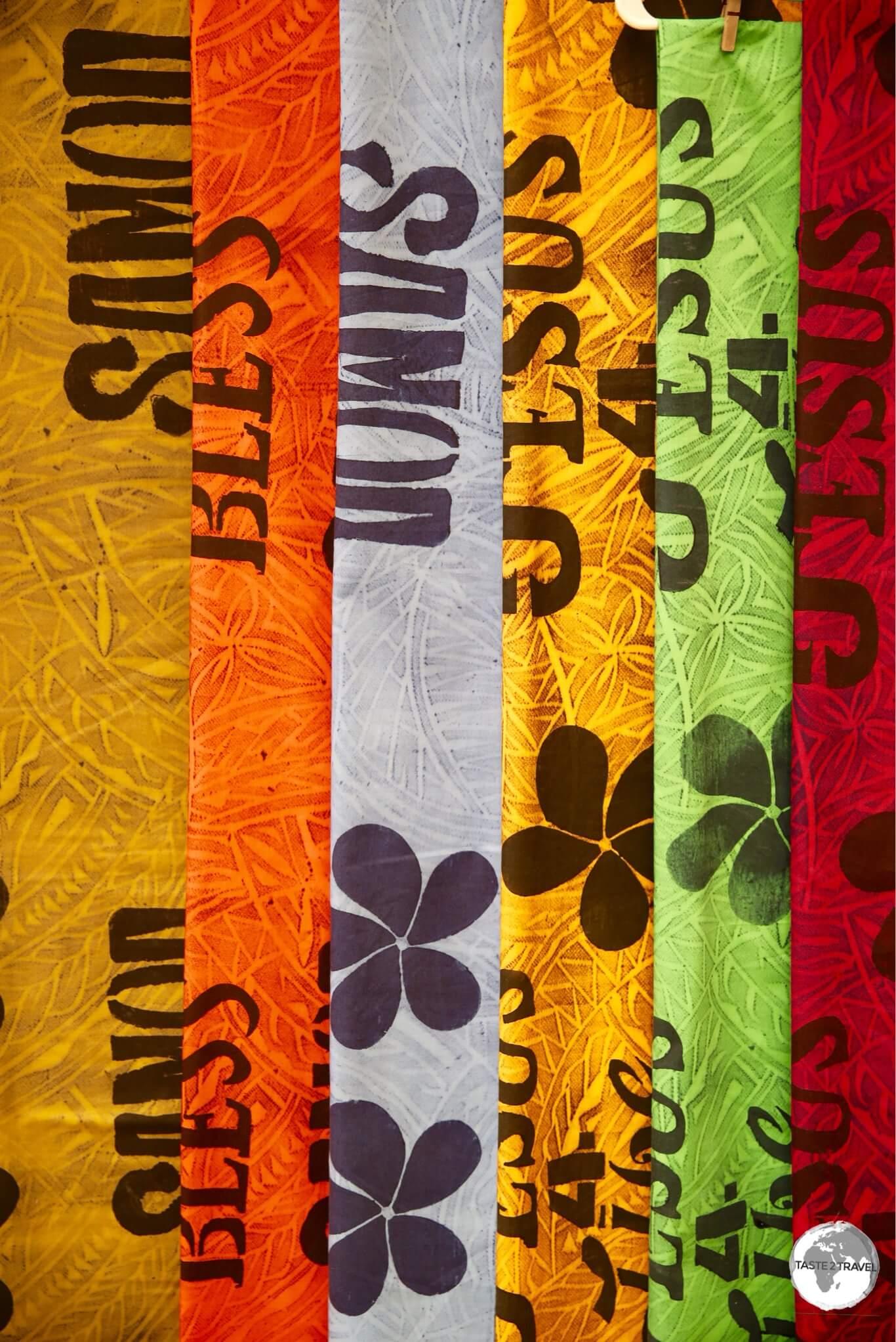 'Samoan' souvenirs on sale at Fagatogomarket in Pago Pago.