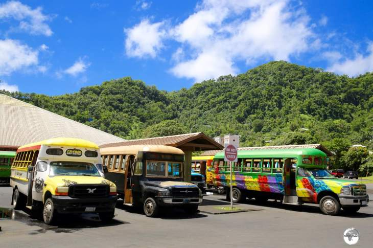 'Aiga' buses at the terminus in Pago Pago.