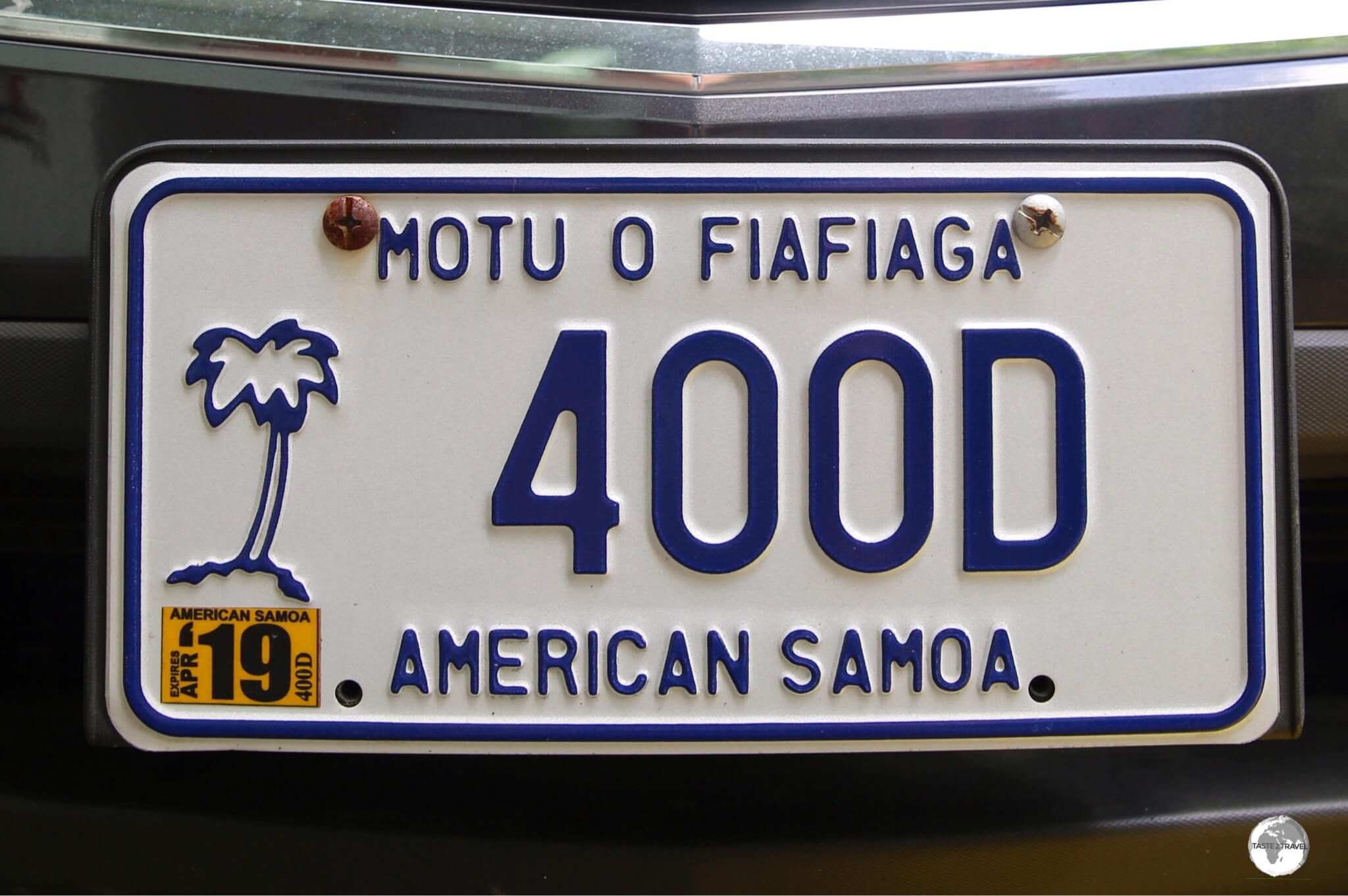 An American Samoa license plate.