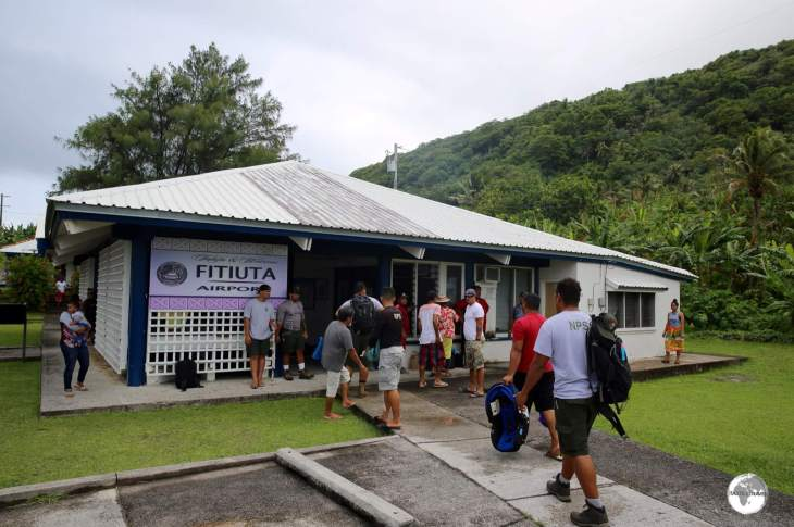 Arriving at Fitiuta airport on the island of Ta'u.