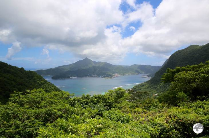 The view of Pago Pago harbour from Rainmaker Pass.