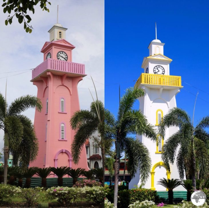 During my visit, the iconic Apia Town Clock changed colour overnight, from a subdued pink to a bright white.