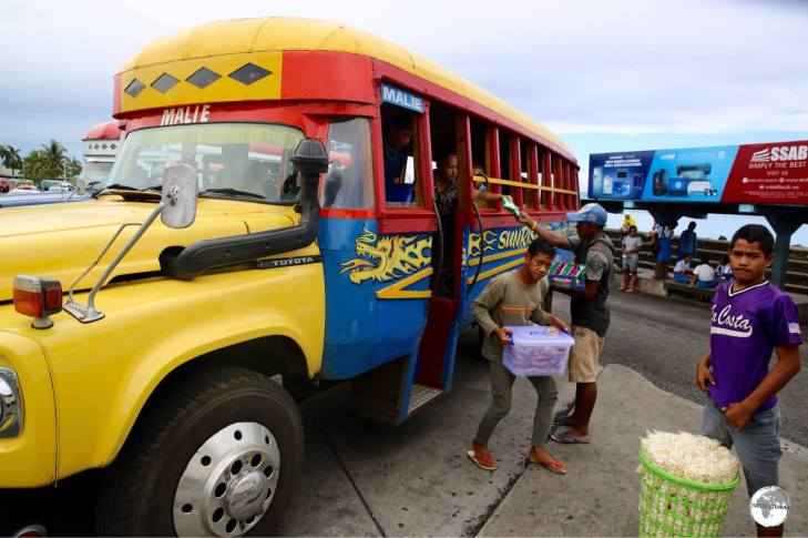 Food vendors at the bus terminal in Apia.