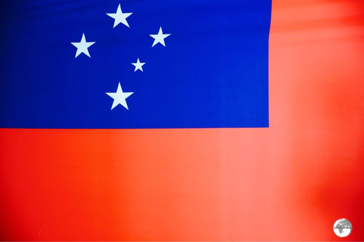 The flag of Samoa displayed at the museum of Samoa.