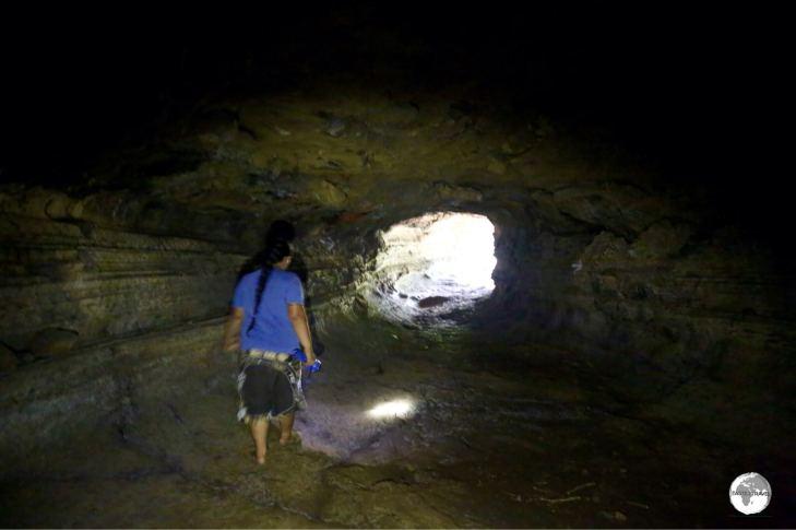 My guide, Lagi, inside the A'opo Lava Tube.