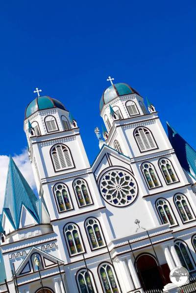 The imposing exterior of the Immaculate Conception Cathedral dominates the skyline of Apia.
