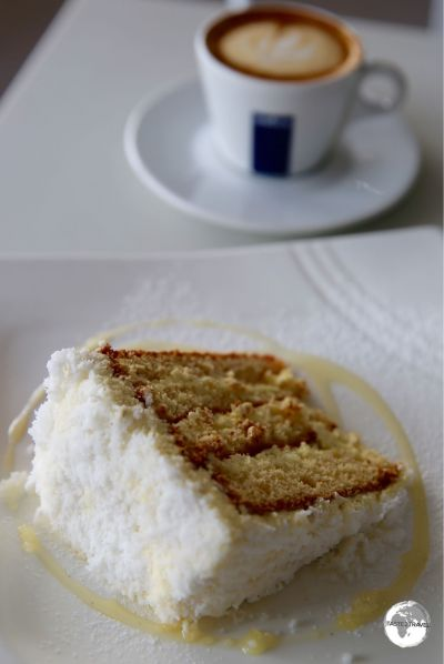 Made fresh everyday, Dora's coconut & pineapple cake is the house special at Milani Caffe.