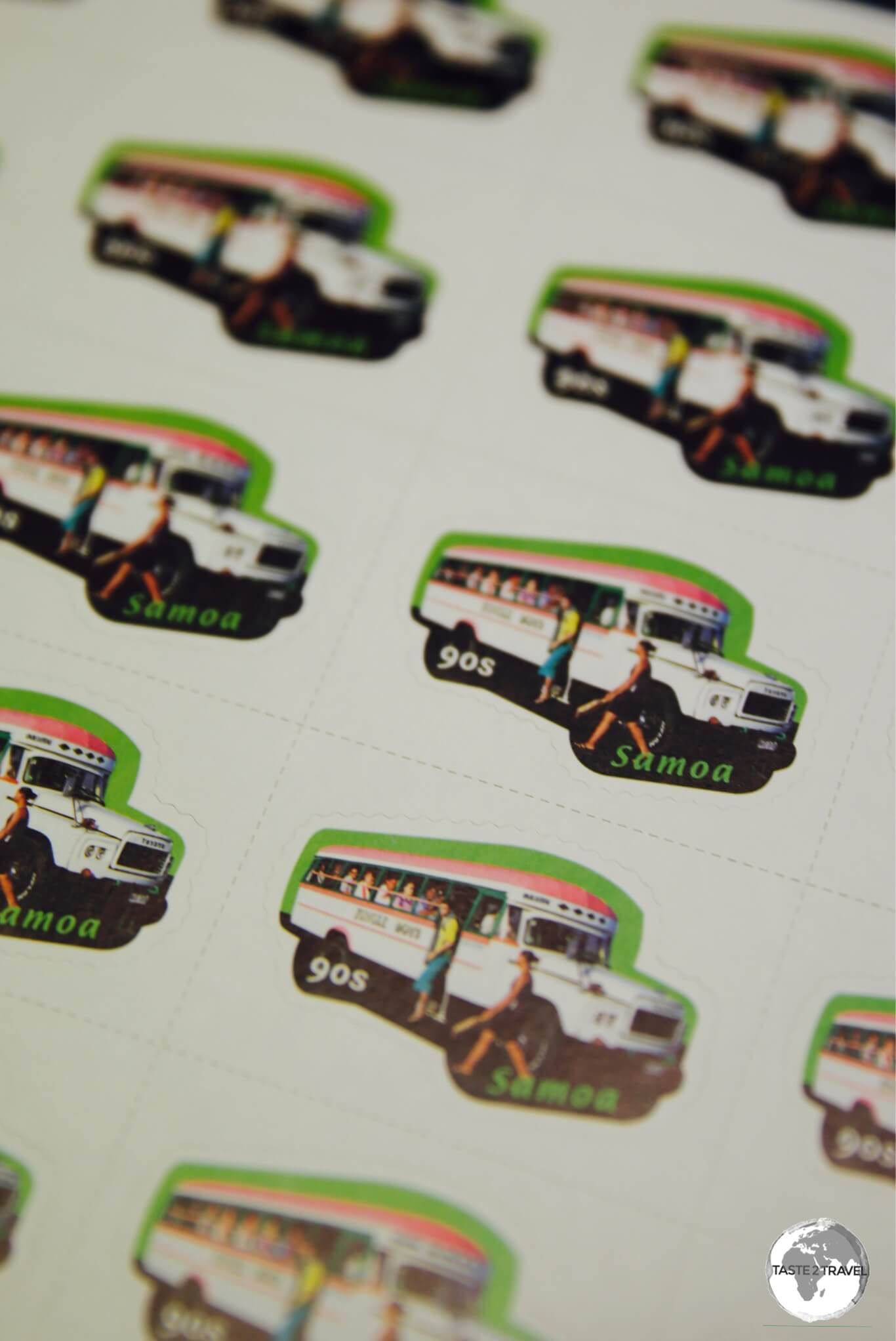 The iconic public buses featured in a popular stamp issue.