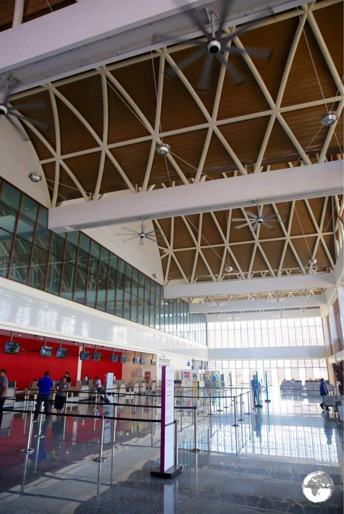 The lofty and well-ventilated terminal building at Faleolo International Airport.