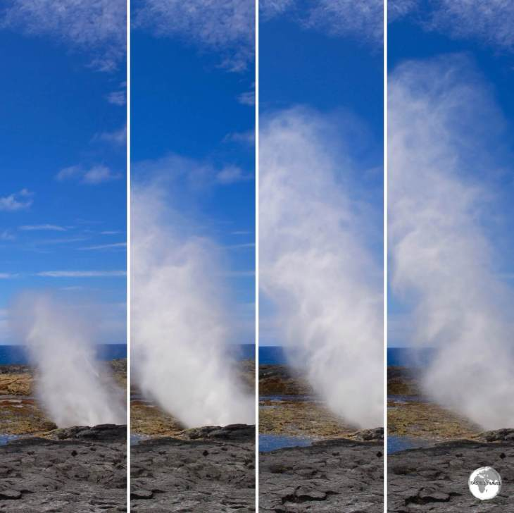 A photo sequence showing the lifecycle of a Alofaaga blowhole.