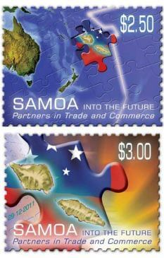 Samoa stamp issue commemorating the change of time zone.
