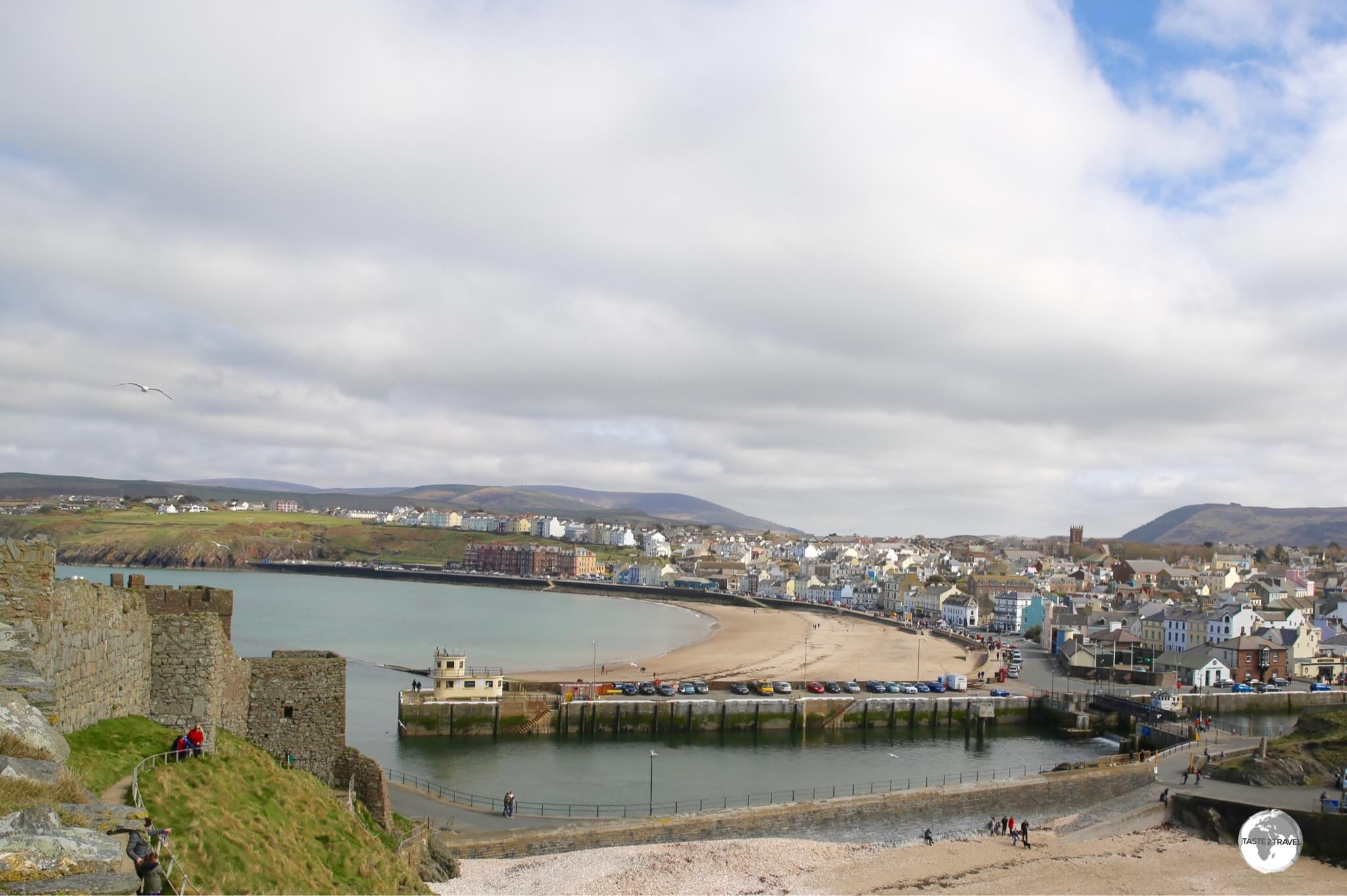 The view of Peel from Peel castle.