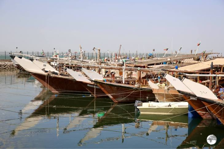 Traditional Dhow fishing boats line the Dhow harbour.