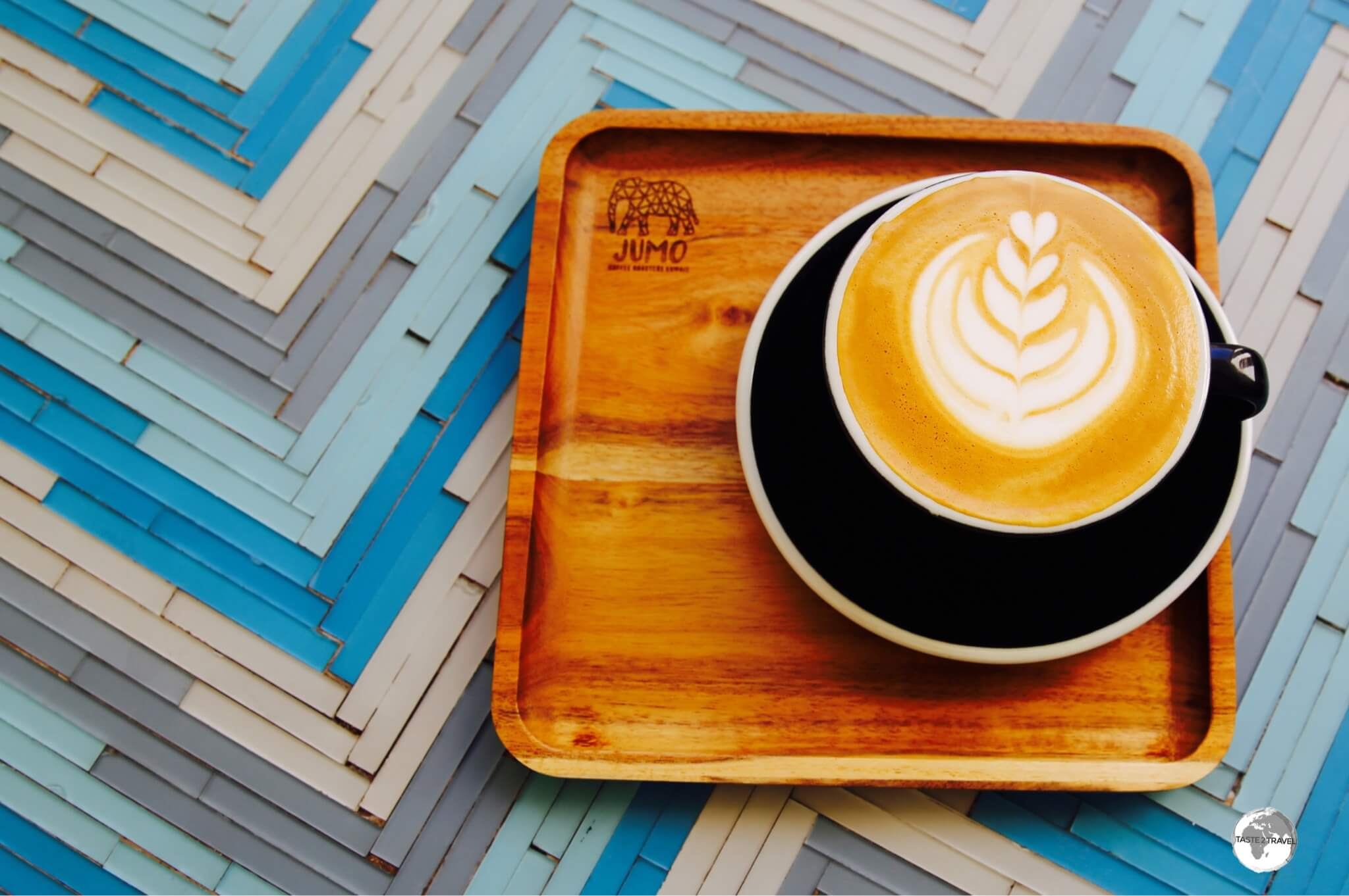 A divine cafe latte served at Jumo Coffee Roasters.