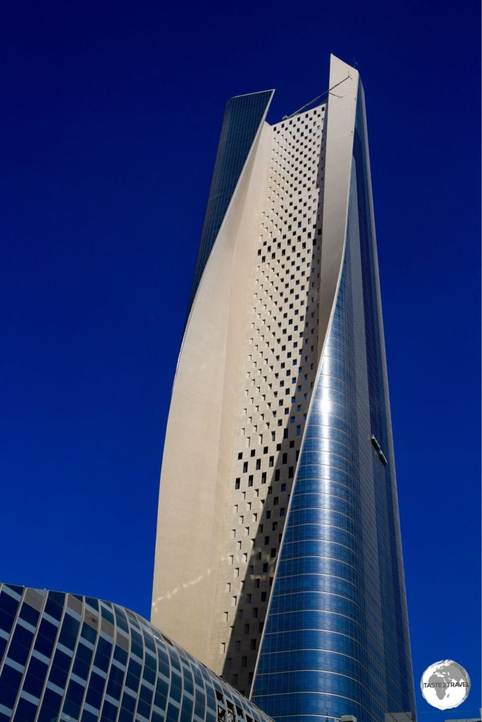 At 414 m, the impressive Al Hamra tower is the tallest building in Kuwait and the tallest carved concrete skyscraper in the world.
