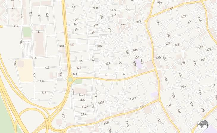 A section of a street map from Google Maps clearly shows the very confusing street naming convention used in Kuwait City.