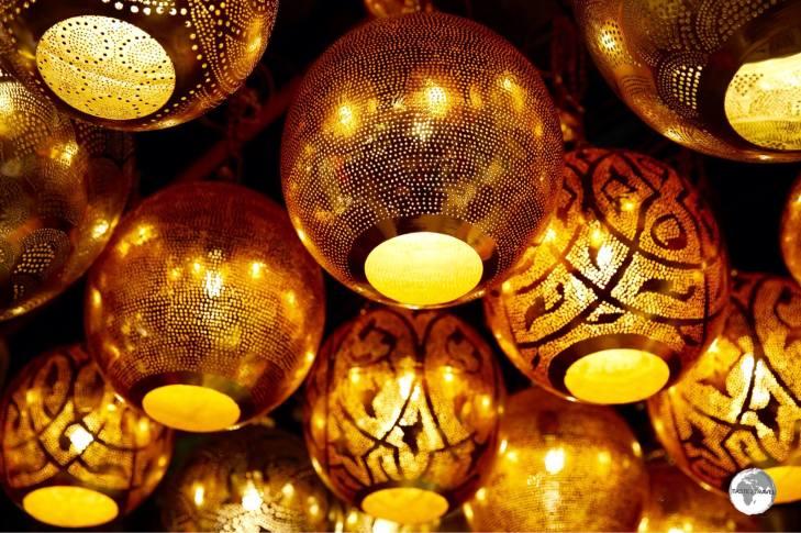 Metallic lanterns on sale at Manama Souk.