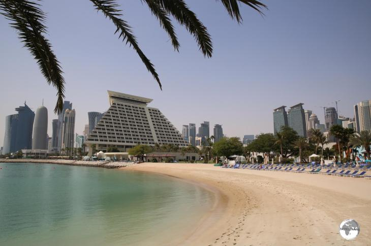 The private beach at the Sheraton Grand Resort in Doha.