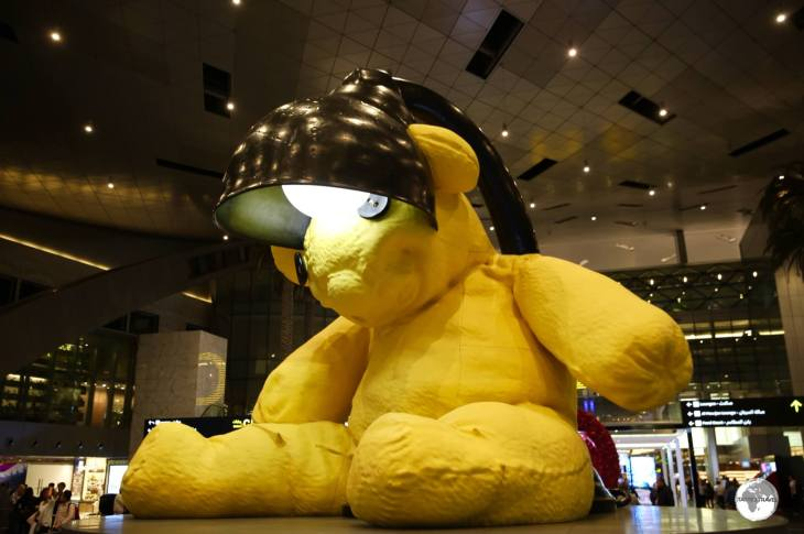 Lamp Bear at Doha's Hamid International Airport.