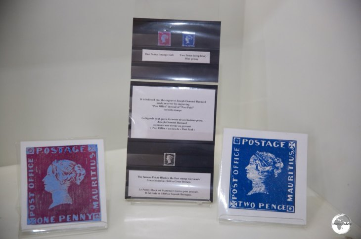 """These photocopies of the highly valuable Mauritius """"Post Office"""" stamps are on display at the nearby Postal museum."""