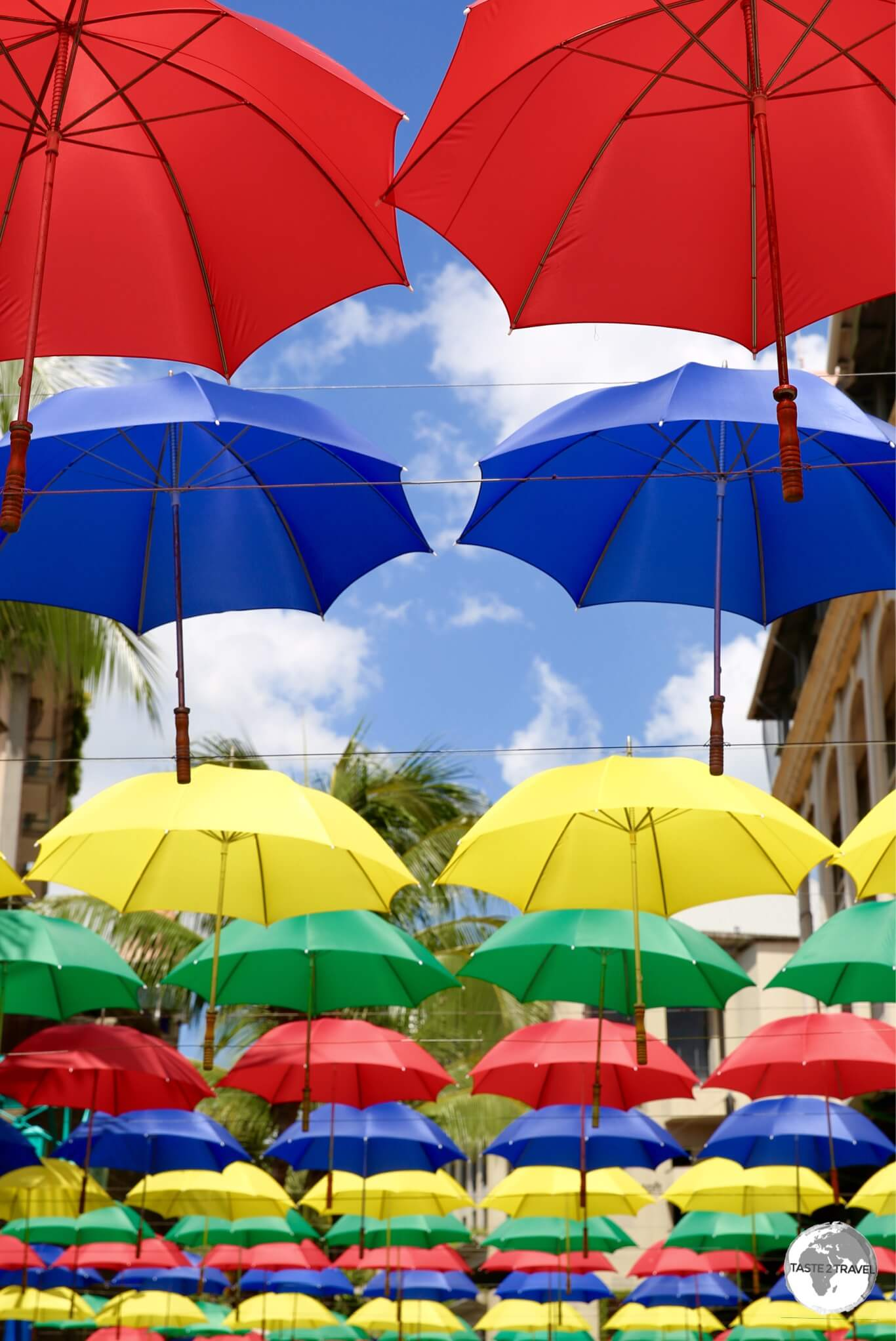 Colourful umbrella art on the waterfront in Port Louis.