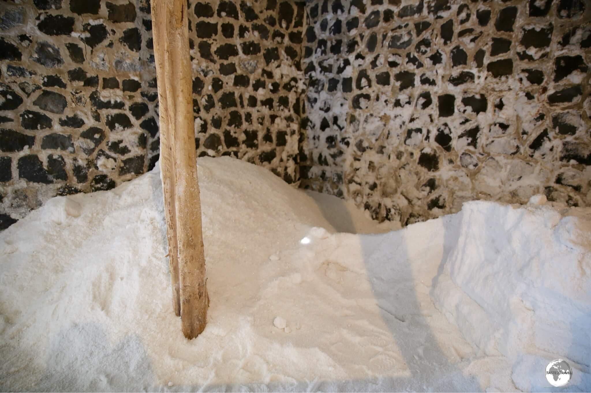 Sea salt, ready to be packaged, at Les Salines de Yemen.
