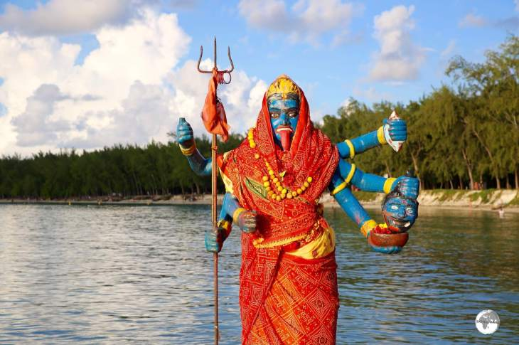 Kali, a Hindu goddess, at a seaside temple near Trou aux Biches.