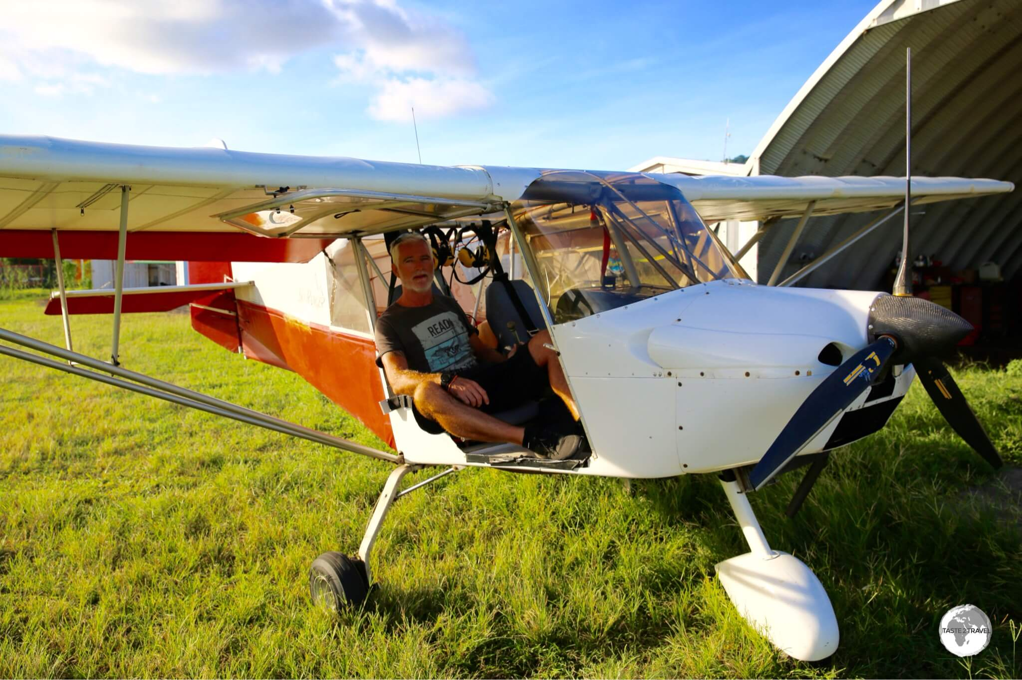 My competent pilot, Fred, and his Skyranger ultralight plane.