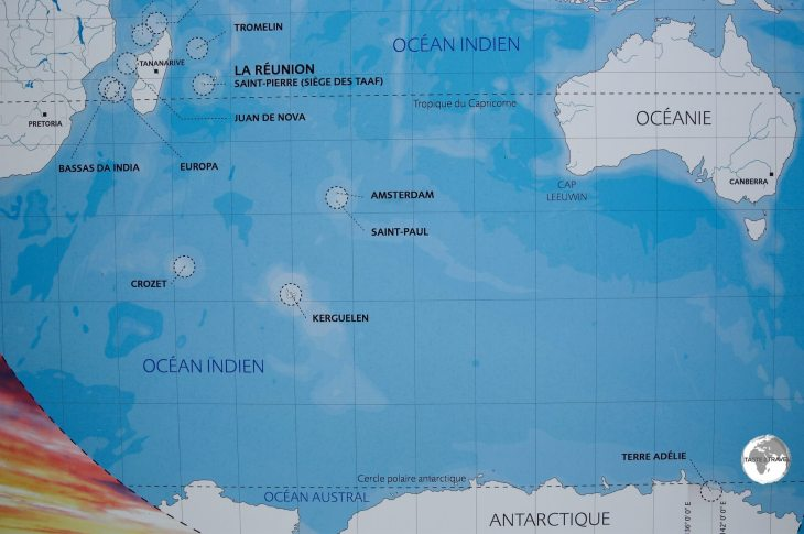 A map at the TAAF Information centre in St. Pierre shows the location of the French Antarctic Territories.
