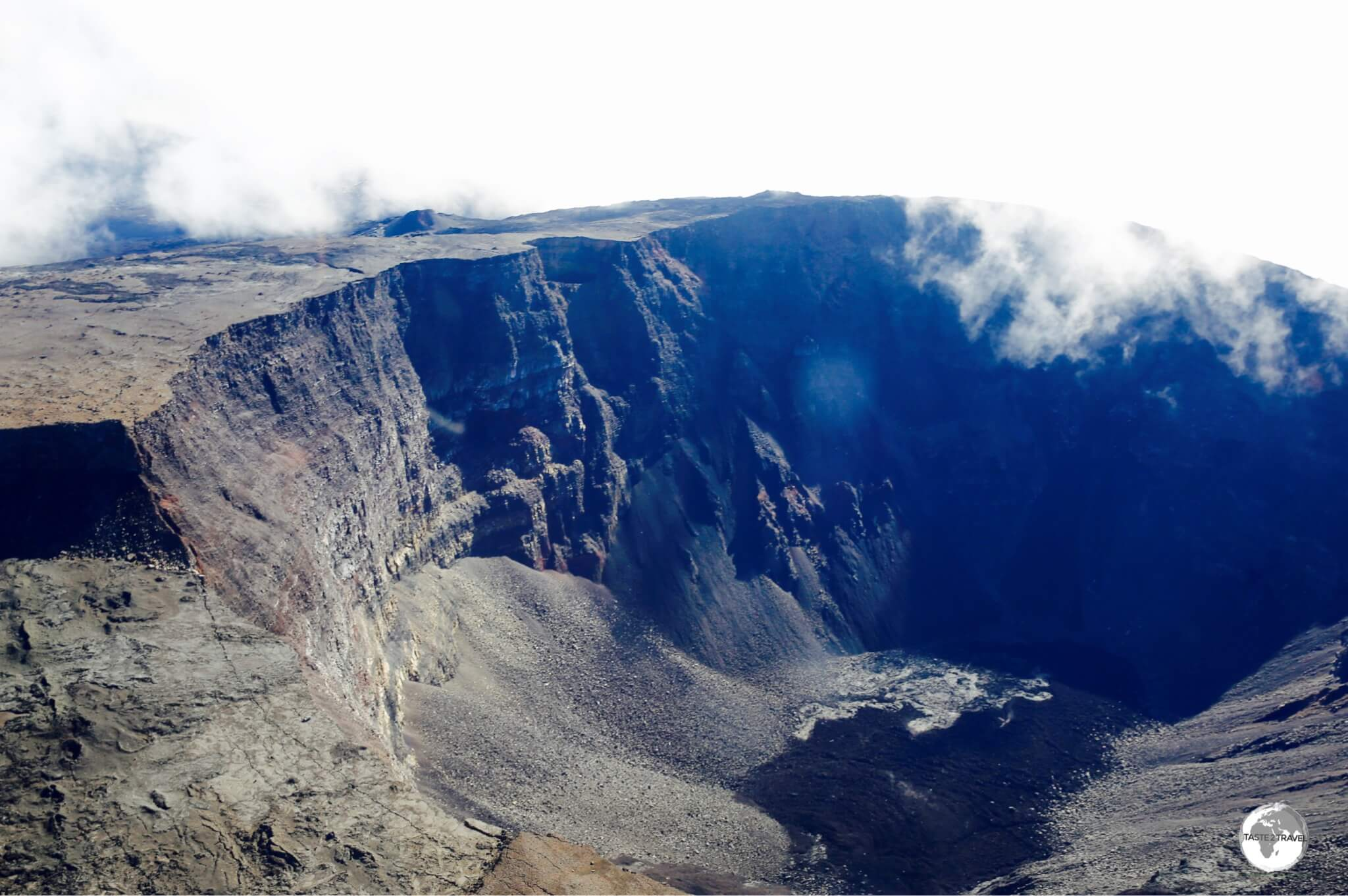 A panoramic view of the crater of the very active Piton de la Fournaise volcano, as seen from my Corail helicopter flight.