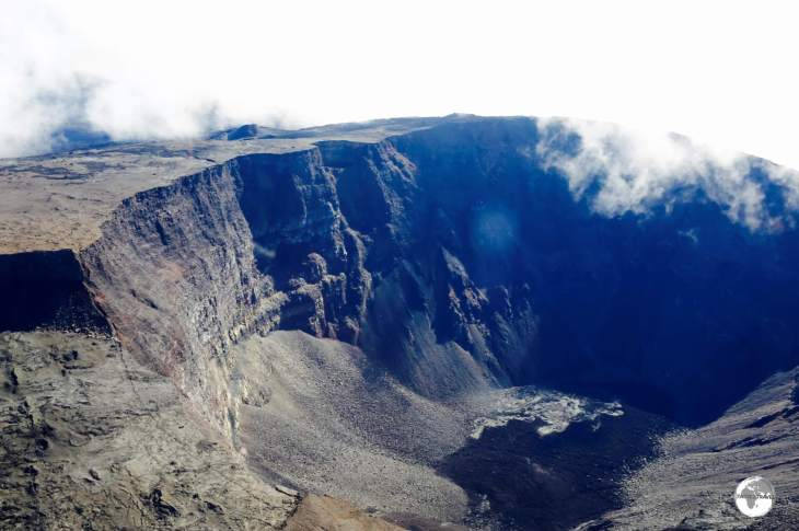 A panoramic view of the crater of the very active <i>Piton de la Fournaise</i> volcano, as seen from my Corail helicopter flight.