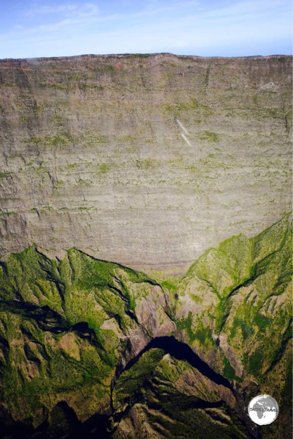 My helicopter flight provided a view of the incredibly deep walls which line <i>Cirque de Mafate</i>.