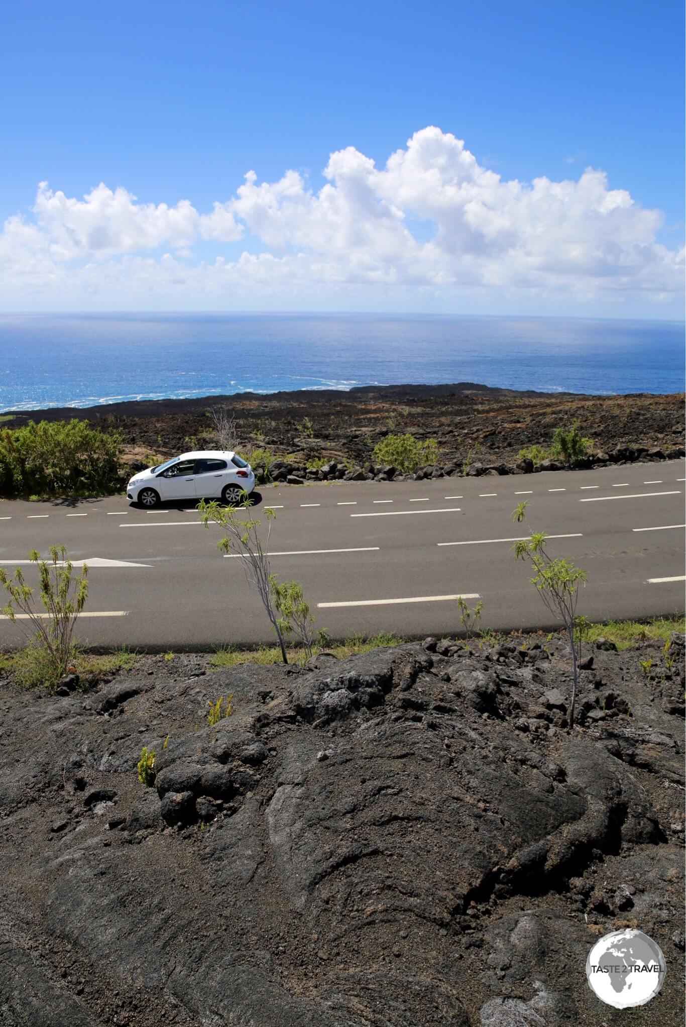 My rental car in the middle of a lava field on the south coast.