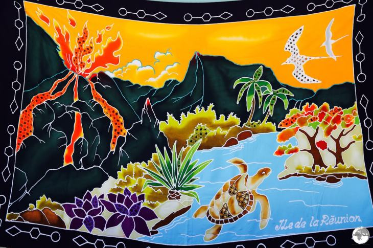 A hand-painted Reunion sarong features a fiery Piton de la Fournaise.