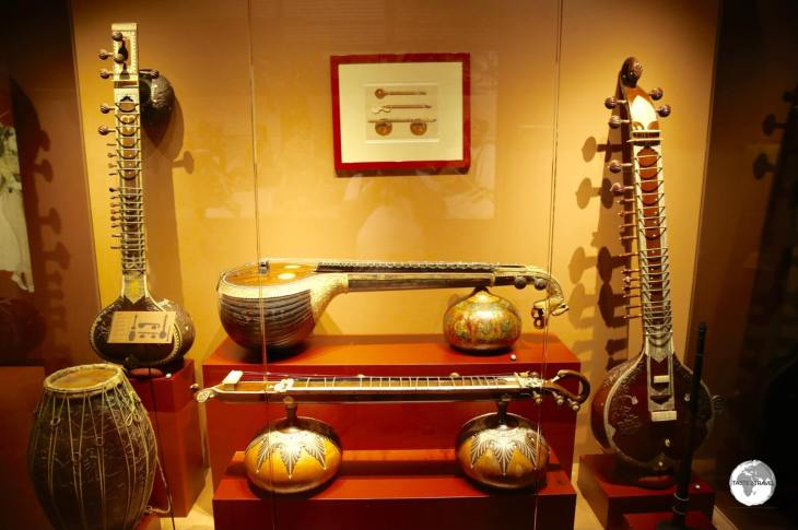 Just one of the many displays of musical instruments at the Maison Morange in Hell-bourg.