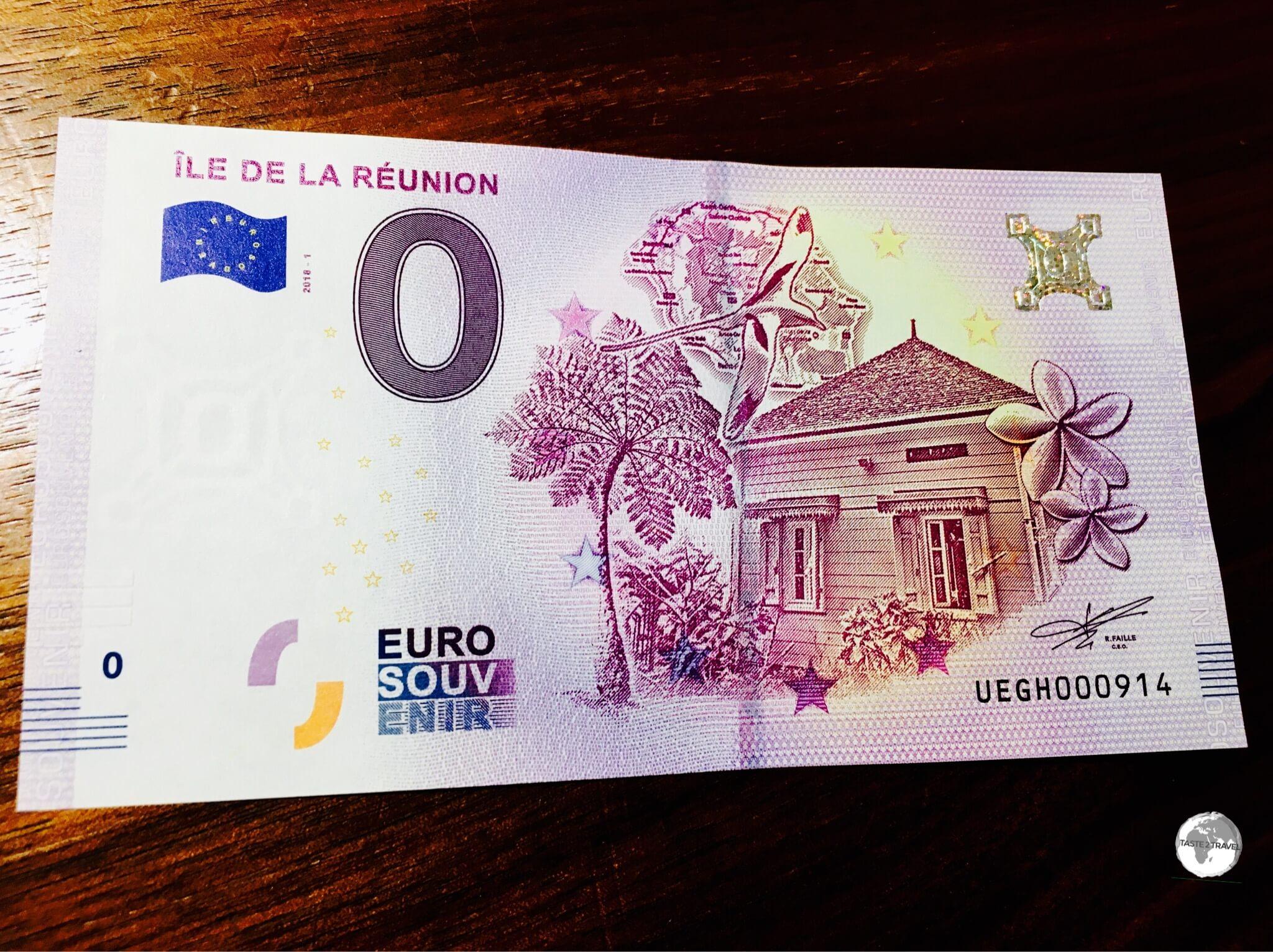 The Réunion souvenir €0 note.