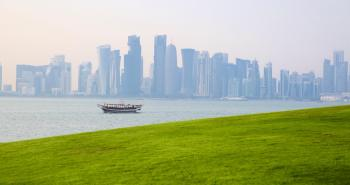 A view of the Doha city skyline from MIA park.